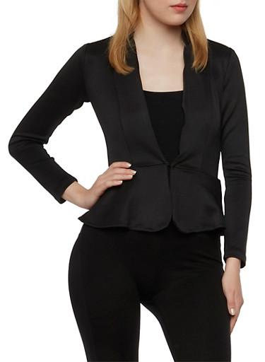 Scuba Knit Peplum Blazer,BLACK,large