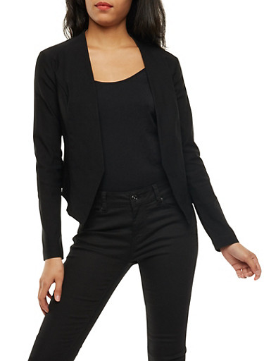Open Front Asymmetrical Blazer,BLACK,large