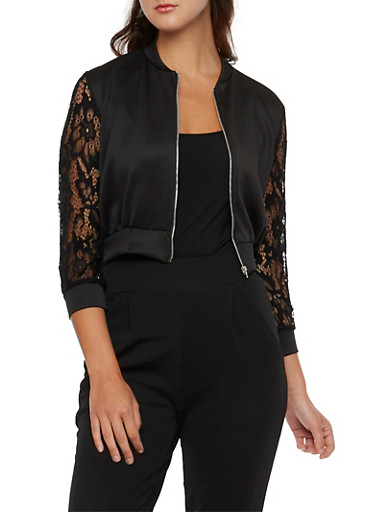 Cropped Bomber Jacket with Lace Sleeves,BLACK,large
