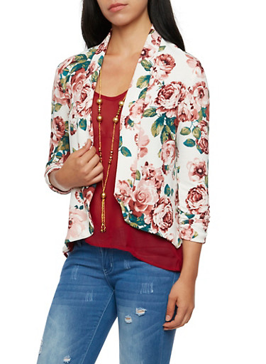 Floral Jacket with Ruched Sleeves,WHITE,large