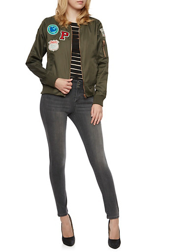 Bomber Jacket with California Patches,OLIVE,large