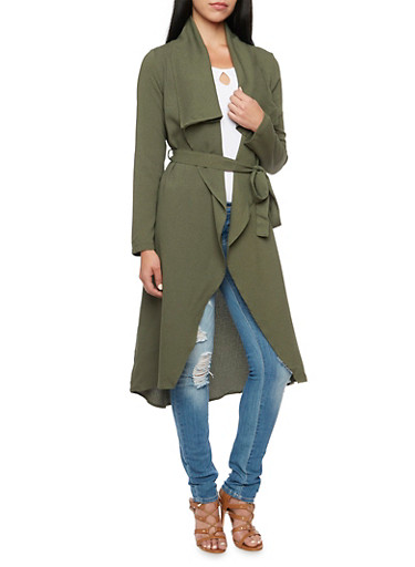 Belted Duster with Long Sleeves,OLIVE,large