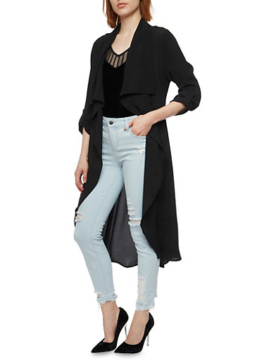 Long Sleeve Belted Duster,BLACK,large