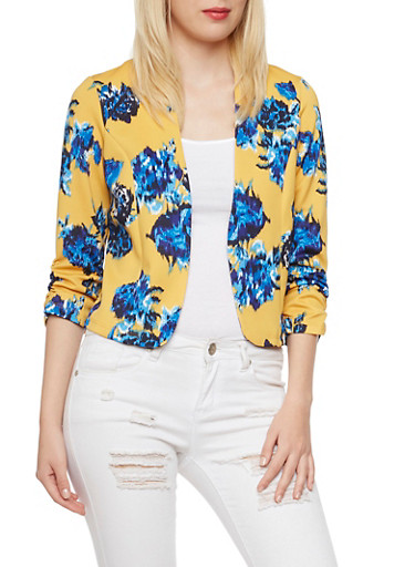 Cropped Floral Blazer with Ruched Sleeves,MUSTARD,large