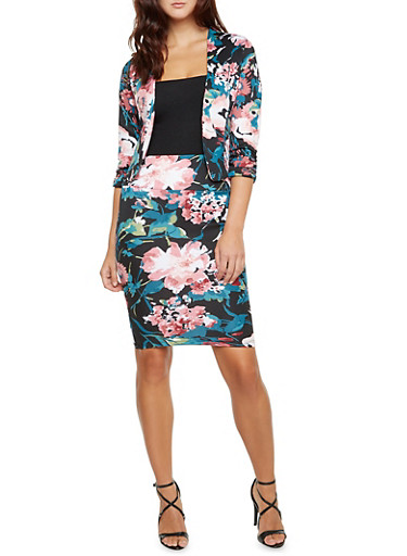 Floral Print Blazer with Ruched Sleeves,BLACK,large