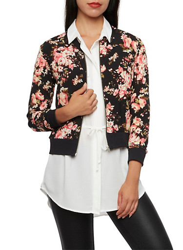 Floral Print Bomber Jacket with Zip Front,BLACK,large