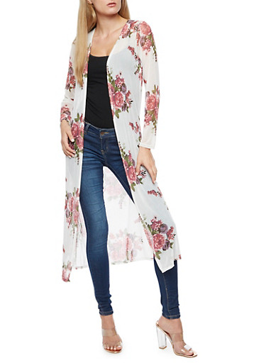 Floral Mesh Duster,IVORY,large