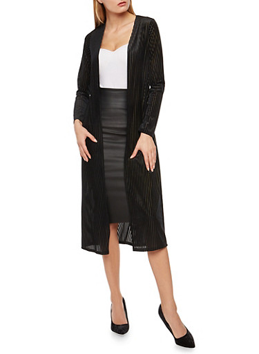 Velvet Striped Duster,BLACK,large