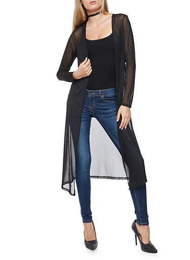 Long Sleeve Mesh Duster,BLACK,large