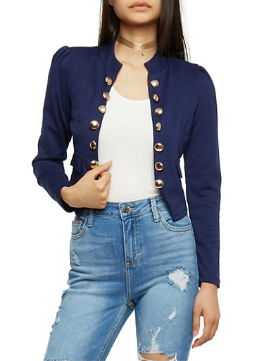 Cropped Military Blazer,NAVY,large