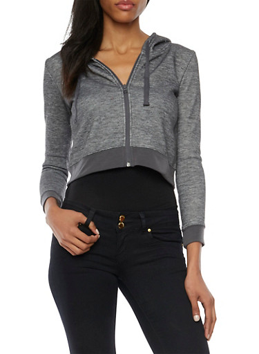 Cropped Hoodie with Zip Front,CHARCOAL,large