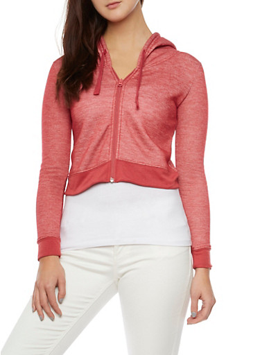 Cropped Hoodie with Zip Front,BURGUNDY,large
