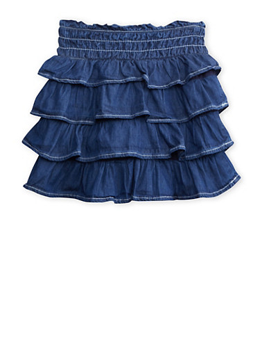 Toddler Girls Tiered Chambray Ruffle Skirt with Zipper Front,DENIM,large