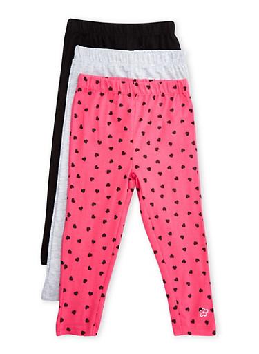 Toddler Girls 3-Pack Leggings Set,MULTI COLOR,large