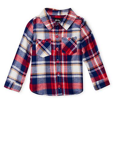 Toddler Girls Plaid Shirt,NAVY,large