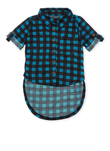 Toddler Girls Gingham Button Front High-Low Top,TURQUOISE,large