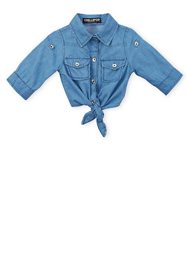 Toddler Girls Chambray Button-Up Top with Waist Ties,DENIM,large
