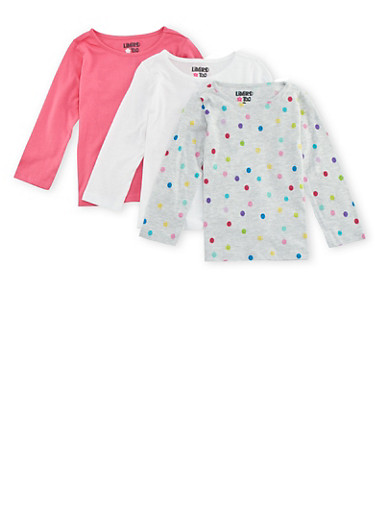 Toddler Girls Limited Too Assorted Crew Neck Shirts 3 Pack,MULTI COLOR,large