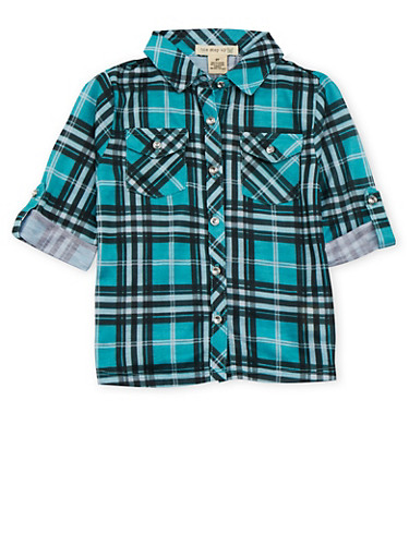 Toddler Girls Plaid Shirt,JADE,large