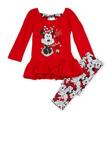Toddler Girls Top and Printed Leggings Set with Minnie Mouse Graphic,RED,large
