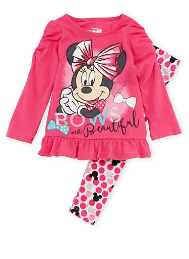 Toddler Girls Minnie Mouse Top with Leggings Set,FUCHSIA,large