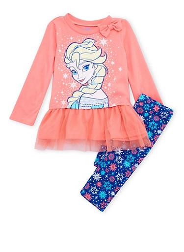 Toddler Girls Disney Frozen Ruffle Top and Snowflake Print Leggings,CORAL,large