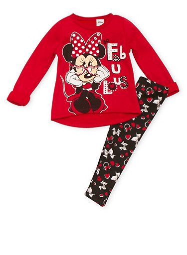 Toddler Girls Fleece Sweatshirt and Leggings with Fabulous Minnie Print,RED,large