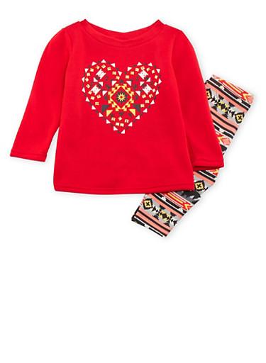 Toddler Girls Fleece Sweatshirt with Leggings Set,RED,large