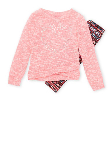 Toddler Girls Heart Studded Sweater with Printed Leggings Set,FUCHSIA,large