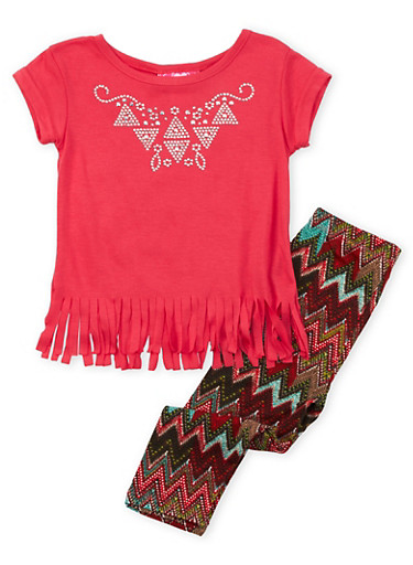 Toddler Girls Top and Leggings Set with Studded Accents,CORAL,large