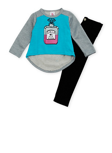Toddler Girls Glitter Graphic Top with Moto Leggings Set,TURQUOISE,large