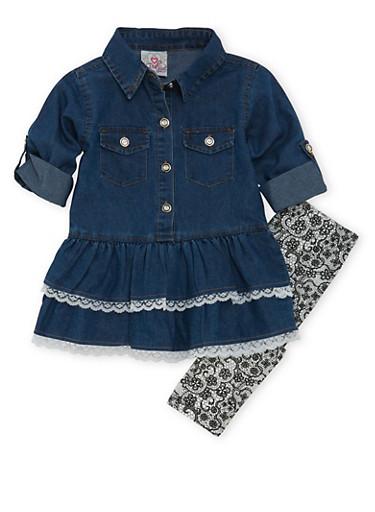 Toddler Girls Denim Dress and Leggings Set,WHITE,large