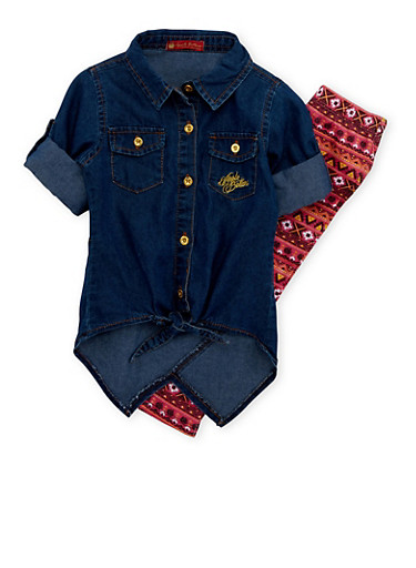 Toddler Girls Chambray Tunic Top and Printed Leggings Set,CORAL,large