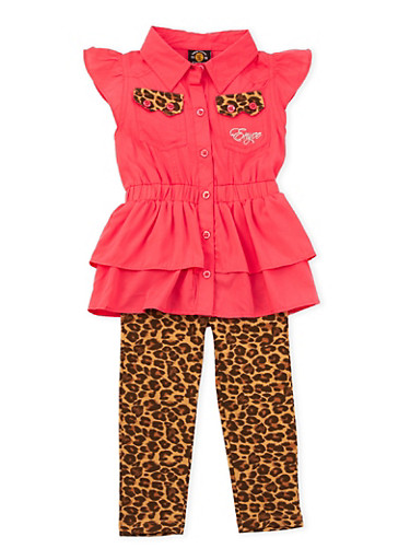 Toddler Girls Enyce Tiered Top and Printed Leggings Set,CORAL,large