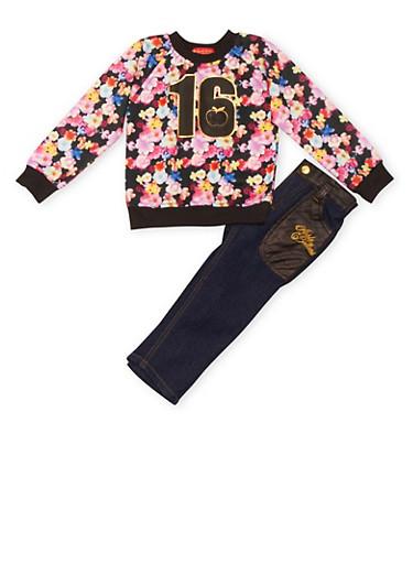 Toddler Girls Floral Print Top with Jeans Set,BLACK,large