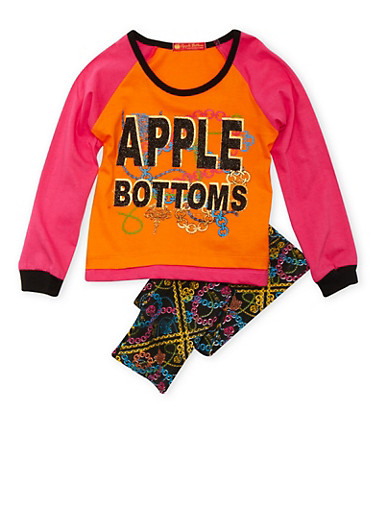 Toddler Girls Graphic Long Sleeve Top and Leggings with Chain Print,CORAL,large