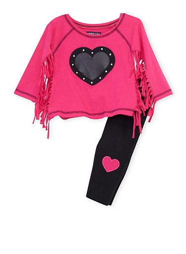 Toddler Girls Limited Too Fringed Graphic Top and Leggings Set,FUCHSIA,large