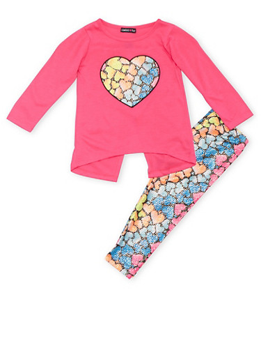 Toddler Girls Limited Too Fuchsia Split Back Top and Leggings with Heart Print,FUCHSIA,large