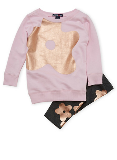 Toddler Girls Limited Too Graphic Top and Leggings Set,PINK,large