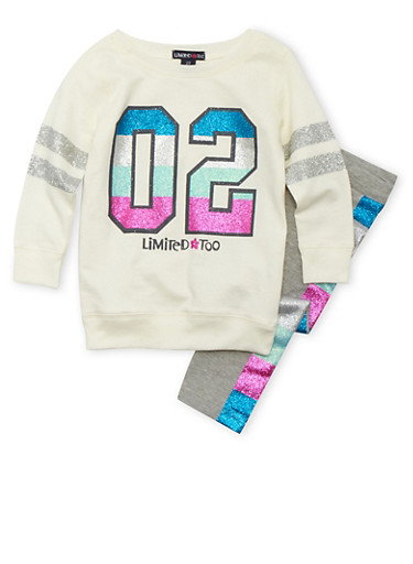 Toddler Girls Limited Too Glitter Graphic Sweatshirt and Leggings Set,IVORY,large