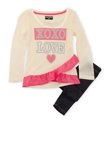Toddler Girls Tunic Sweater and Leggings Set,IVORY,large