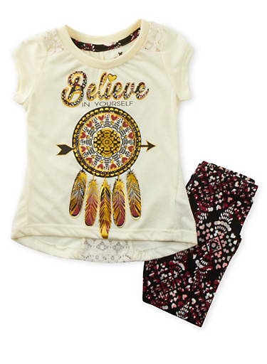 Toddler Girls Lace Tee with Graphic and Printed Leggings Set,WHITE,large