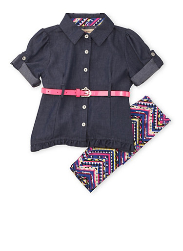 Toddler Girl Belted Chambray Top and Printed Leggings Set,CHAMBRAY,large