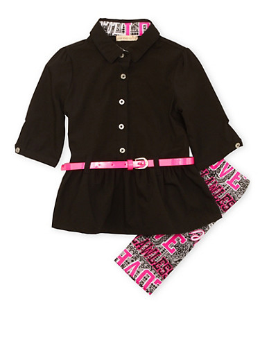 Toddler Girls Belted Tunic Top and Printed Leggings Set,BLACK,large