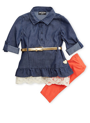 Toddler Girls Chambray Button-Down Top and Leggings Set,CHAMBRAY,large