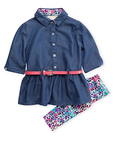 Toddler Girls Belted Chambray Top and Printed Leggings Set,CHAMBRAY,large