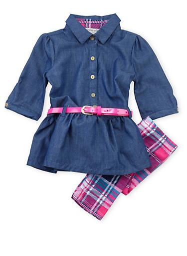 Toddler Girls Chambray Tunic Top and Printed Leggings Set,PINK,large