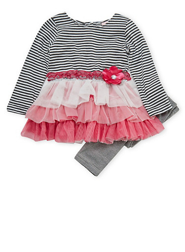 Toddler Girls Tiered Ruffle Dress and Leggings with Striped Print,PINK,large