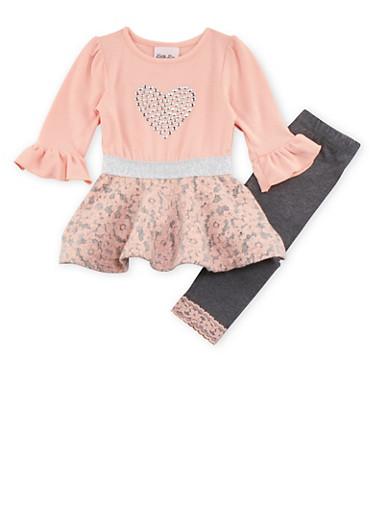 Toddler Girl Dress and Leggings Set,CORAL,large