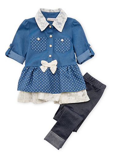 Toddler Girls Lace Accented Chambray Dress with Jeggings Set,CHAMBRAY,large